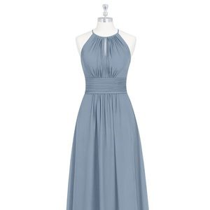Azazie Dusty Blue Bonnie Floor Length dress